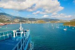 Cruise Ship in St. Thomas Harbor Stock Photo