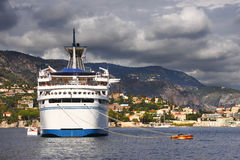 Cruise ship stern. View in Villefranche Bay, France Stock Photo