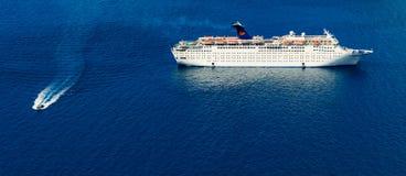 Cruise Ship. Stopover in  santorini of Athens, Greece Royalty Free Stock Photos