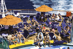 Cruise Ship Sun Bathing and Tanning Stock Images