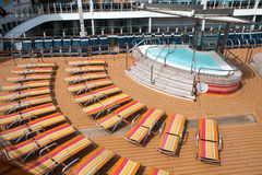 Cruise ship Sun deck - jacuzzi and long chairs Stock Images