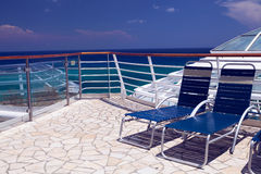 Cruise ship Sun deck and long chairs Stock Images