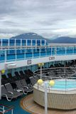 Cruise ship sun deck and panorama stock image