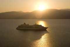 Cruise ship sundown. Cruise ship with sunset in Greece Stock Images