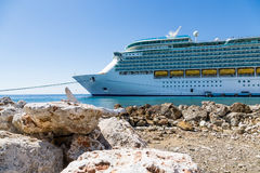 Cruise Ship in Sunny Curacao Royalty Free Stock Photos