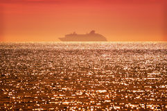 Cruise Ship At Sunset Stock Photography
