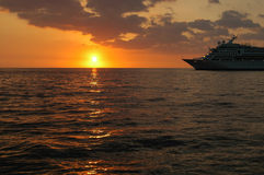 Cruise Ship Into Sunset Stock Photography