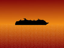 Cruise Ship At Sunset Royalty Free Stock Photography