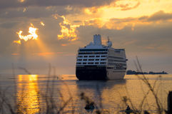 Cruise ship at sunset. Royalty Free Stock Photos