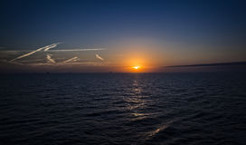 Cruise Ship Sunset Just Leaving Galveston Royalty Free Stock Photos