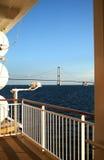 Cruise Ship & Suspension Bridge Royalty Free Stock Photography