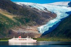 Cruise ship at Svartisen glacier in Norway Royalty Free Stock Photography