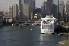Cruise Ship In Sydney. Large Cruise Ship At Circular Quay In Sydney Harbour, Australia Stock Image