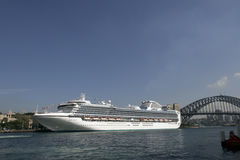 Cruise Ship In Sydney. Large Cruise Ship At Circular Quay In Sydney Harbour, Australia Royalty Free Stock Image