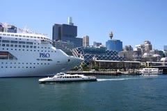 Cruise Ship, Sydney, Australia. Tropical Cruise Ship anchored at King Street Wharf, Sydney, Australia Royalty Free Stock Image