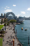 Cruise ship and Sydney Harbour Bridge Royalty Free Stock Image