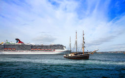 Cruise ship and tall ship in Sidney harbor Stock Image