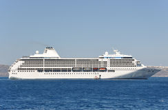 Cruise ship template. Beautiful cruise ship on horizont background Stock Images