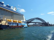Cruise Ship, Tender and Sydney Harbour Bridge, Australia Stock Photos