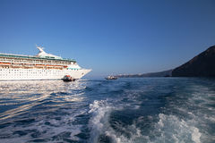 Cruise ship and tenders, Santorini Royalty Free Stock Photo