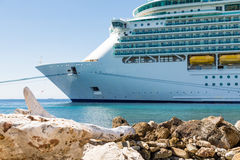 Cruise Ship Tied by Curacao Seawall Stock Photo
