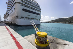 Cruise ship tied to steel bollard Royalty Free Stock Photo