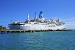 Cruise ship in Tobago port, Caribbean Stock Image