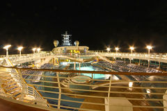 Cruise ship top deck. At night Stock Photos