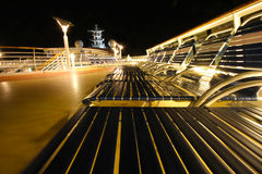 Cruise ship top deck. At night Stock Photography