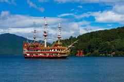 Cruise ship and Torii gate on Ashi lake Stock Images