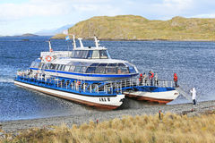 Cruise ship for the tour at Beagle Channel Stock Image