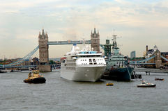 Cruise ship at Tower bridge London Stock Images