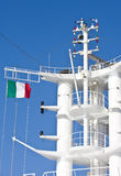 Cruise Ship Tower and Italian Flag Royalty Free Stock Photo