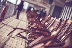Cruise Ship Travels. Photo Concept. Wooden Deck Chairs on the Vessel Main Deck stock images