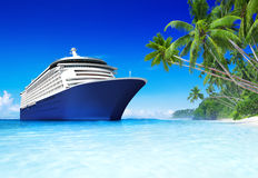 Cruise Ship on Tropical Beach Royalty Free Stock Photo