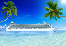 Cruise Ship on a Tropical Beach Royalty Free Stock Image