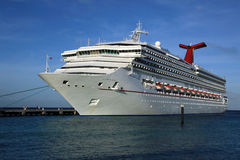 Cruise ship in tropical island port Stock Photography