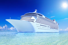 Cruise Ship in Tropical Waters.  stock photo
