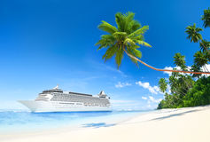 Cruise Ship in Tropical Waters Stock Image