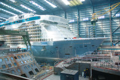 Cruise ship under construction Stock Images