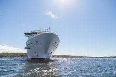 Cruise Ship Under Sun at Angle Royalty Free Stock Images