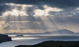 Cruise ship under the sun Stock Photo