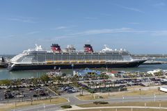 Cruise ship underway. Port Canaveral, Florida, USA. Port Canaveral, Florida, USA. circa 2017. Cruise ship Disney Fantasy departing Port Canaveral stock images