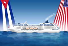 Cruise ship USA- Cuba stock illustration