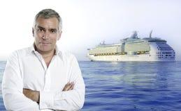 Cruise ship vacation summer senior man white shirt. Cruise summer vacations image with a senior white shirt man stock images