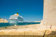 Cruise ship and Valletta harbor view from Birgu. Malta. Cruise ship and Valletta harbor view from Birgu, Malta Royalty Free Stock Photography