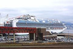 Cruise ship in Vancouver BC harbor. Stock Photography