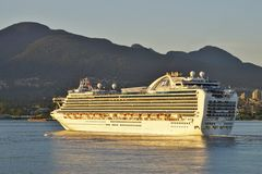 A cruise ship in Vancouver, British Columbia Royalty Free Stock Photo