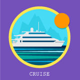 Cruise Ship vector Illustration. Retro styled Stock Images