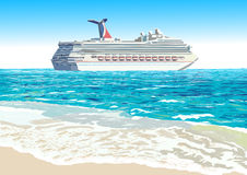 Cruise ship, vector illustration Royalty Free Stock Photo